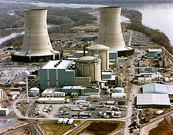 March 28, 1979, there was a cooling system malfunction that caused a partial melt-down of the reactor core. This loss of coolant accident resulted in the release of a significant amount of radioactivity, estimated at 43,000 curies (1.59 PBq) of radioactive krypton gas, but less than 20 curies (740 GBq) of the especially hazardous iodine-131, into the surrounding environment.[2]  The nuclear power industry claims that there were no deaths, injuries or adverse health effects from the accident,[13] and a report by Columbia University epidemiologist Maureen Hatch agrees with this finding.[14] Another study by Steven Wing of the University of North Carolina found that lung cancer and leukemia rates were 2 to 10 times higher downwind of TMI than upwind.[15] The Radiation and Public Health Project reported a spike in infant mortality in the downwind communities two years after the accident.[16][17]  The incident was widely publicized nationally and internationally, and had far-reaching effects on public opinion, particularly in the United States. The China Syndrome, a movie about a nuclear meltdown, which was released just 12 days before the disaster, became a blockbuster hit.