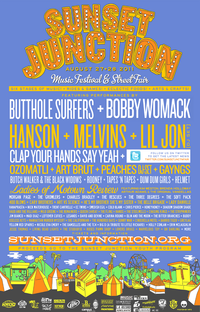 Sunset	Sunset junction Street festival is Non-Profit Organization that put together a community event held in SIlver Lake. The Event has been around for the past 30 years and the estimate attendance is about 45,000 people over the two day festivities on Sunset Blvd/Santa Monica Blvd.  The profit of the event helps our organization with having our youth center at risk program, Silver Lake farmers Market and other contributions to the community such as painting murals in the local area, etc. Every year, we have 4 stages playing live music such as Indie Rock, R & B, Reggae, House & electro & more. August 27th & 28th, 2011  Long term friend of music and art. Worked passionately to clean up the community over many years of hard work from painting murals across Silverlake to keep graffiti away, to gang prevention to make a safe, hip area.