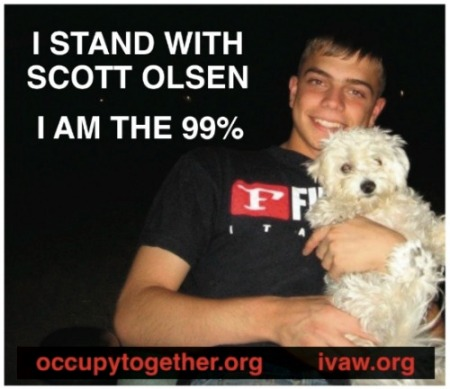 """On Tuesday, police in Oakland aggressively used """"nonlethal"""" rounds to disperse peaceful protesters from Occupy Oakland. Their violent overreaction seriously injured Iraq war veteran Scott Olsen, leaving him hospitalized with a fractured skull."""