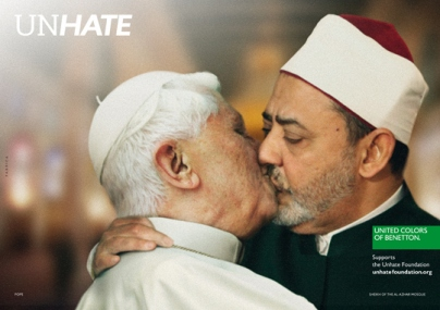 To supplement Benetton's very controversial Unhate campaign that I posted earlier this week, they've also released a 1-minute film featuring acts of violence, moments of passion and other sorts of visually stimulating clips.  And looks like the Vatican is taking legal action to have the photo of him playing tonsil hockey with Sheikh Ahmed el-Tayeb of Egypt taken down.