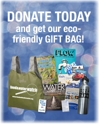 Tax-Deductible Year End Donation to Food & Water Watch  To encourage you to contribute the most generous year-end gift you can afford, one of your fellow Food & Water Watch members has offered to match your year-end donation— dollar for dollar up to $100,000 before December 31st. And if you give $125 or more, you'll receive our eco-friendly gift bag!  Your gift includes:      A Food & Water Watch Eco- Friendly Chico bag     A Food & Water Watch 18oz Klean Kanteen     A DVD of the movie Flow: For Love of Water     Our Fish & Tips Recipe Book     Two Books: Water Consciousness and Zapped
