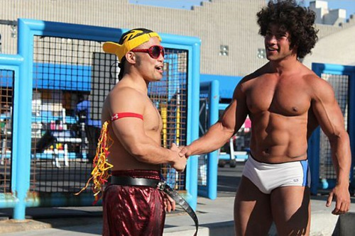 "From dance to weights ( Addie Sepulveda ) Hung Van Lam, left -- better known as Hella Hung from the seventh season of ""So You Think You Can Dance"" -- shakes hands with a friendly weightlifting competitor at Venice Beach"