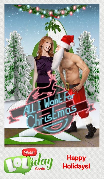 Kathy Griffin  Hey Westfield Culver City, I'm headed your way tomorrow! Come Join the fun! 150 lucky fans get to make hilarious 'Westfield LOLiday Cards' with me. Enter to win a chance to hang out with me backstage before the event here: http://on.fb.me/hfyszz Make your own free LOLiday Card now at: www.LOLidayCards.com