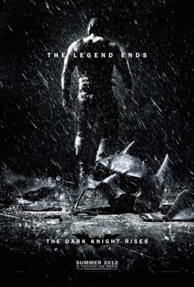 "On the rare occasions when blockbuster demi-god Christopher Nolan emerges from his bleak dream-cave to unveil non-revelatory revelations about next year's The Dark Knight Rises, the director has worked overtime to explain that Rises will be a genuine conclusion to his version of the Batman mythos. A new poster for the film makes that idea explicit. Batman's mask lies on the ground, broken. In the background, we can see apparently unintelligible villain Bane walking away. The tagline is simple: ""The Legend Ends."" It's an interesting, uncompromising sales pitch — it'll be intriguing to see how Rises plays in the same summer as the candy-colored superhero bromance The Avengers. It also adds more fuel to the main question hovering over Rises: Could they actually kill off Batman?"