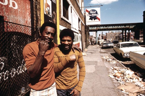 Men pose on a South Side street, May 1974.