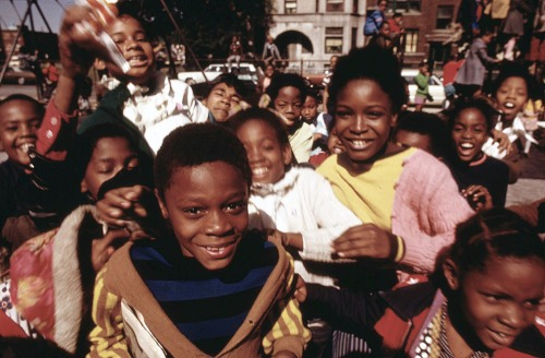 South Side group of children in a playground at 40th and Drexel Boulevard, October 1973