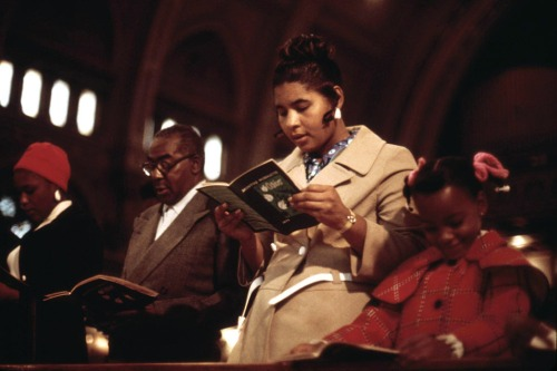 Worshipers at Holy Angel Catholic Church on Chicago's South Side, October 1973.