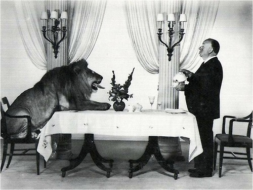 Alfred Hitchcock serving tea for Leo the Lion of MGM, 1957.